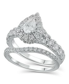 Diamond Pear-Cut Halo Bridal Set (2. ct. t.w.) in 14K White Gold