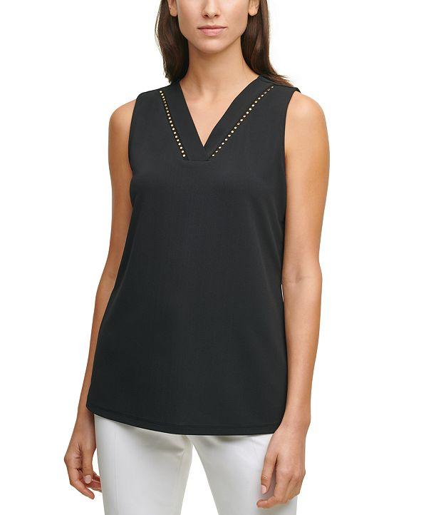 Calvin Klein Embellished-Trim V-Neck Top