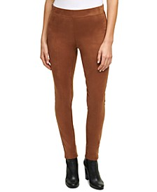 Faux-Suede Pull-On Pants