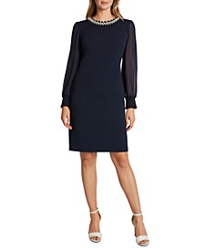 Beaded Sheer-Sleeve Sheath Dress