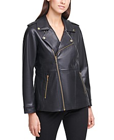 Faux-Leather Moto Zippered Jacket