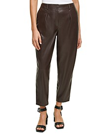 Pleat-Front Faux-Leather Cropped Pants