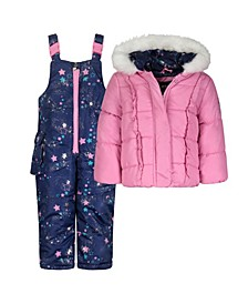Toddler Girls Snowsuit Jacket Set, 2 Piece
