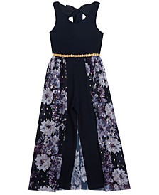 Big Girl Scuba Crepe Jumpsuit With Chiffon Overlay