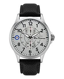 Men's Black Genuine Leather Strap Multifunction Watch, 44mm