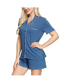 Women's Notch Pajama Top and Short Set