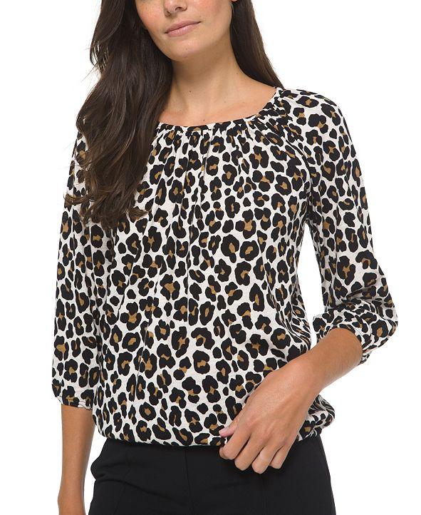 Michael Kors Plus Size Animal-Print Cotton Peasant Top