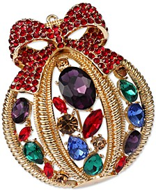 Gold-Tone Multicolor Crystal Ornament Pin, Created for Macy's