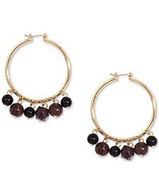 Gold-Tone Shaky Bead Hoop Earrings