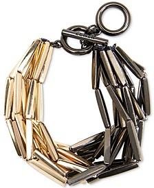 Two-Tone Rectangular-Beaded Multi-Row Bracelet