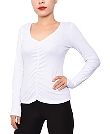 Juniors' Rib-Knit Ruched Top