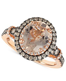 Peach Morganite (1-3/4 ct. t.w.) & Diamond (3/4 ct. t.w.) Ring in 14k Rose Gold