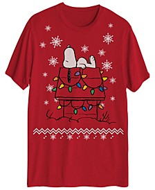Men's Snoopy Christmas House Lights Graphic Tee