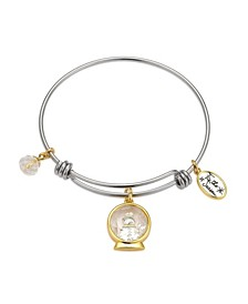 """Two-Tone """"Tis the Season"""" Snowman Shaker Adjustable Bangle Bracelet with Silver Plated Charms"""