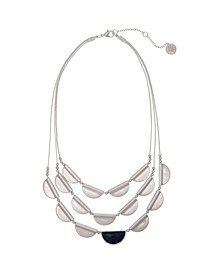 Silver-Tone Castings and Blue Stone Accent 3 Row Necklace