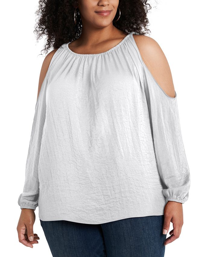 1.STATE - Trendy Plus Size Cold-Shoulder Top