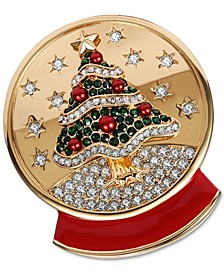 Gold-Tone Crystal & Imitation Pearl Snow Globe Pin, Created for Macy's