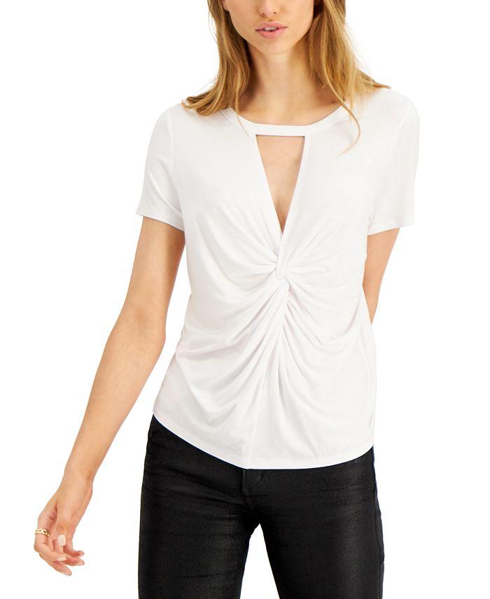 Bar III - Twist-Front Cutout T-Shirt