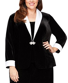 Plus Size 2-Pc. Velvet Jacket & Top Set