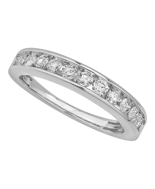 Macy's Certified Diamond Channel Band 3/4 ct. t.w. in 14k White or Yellow Gold