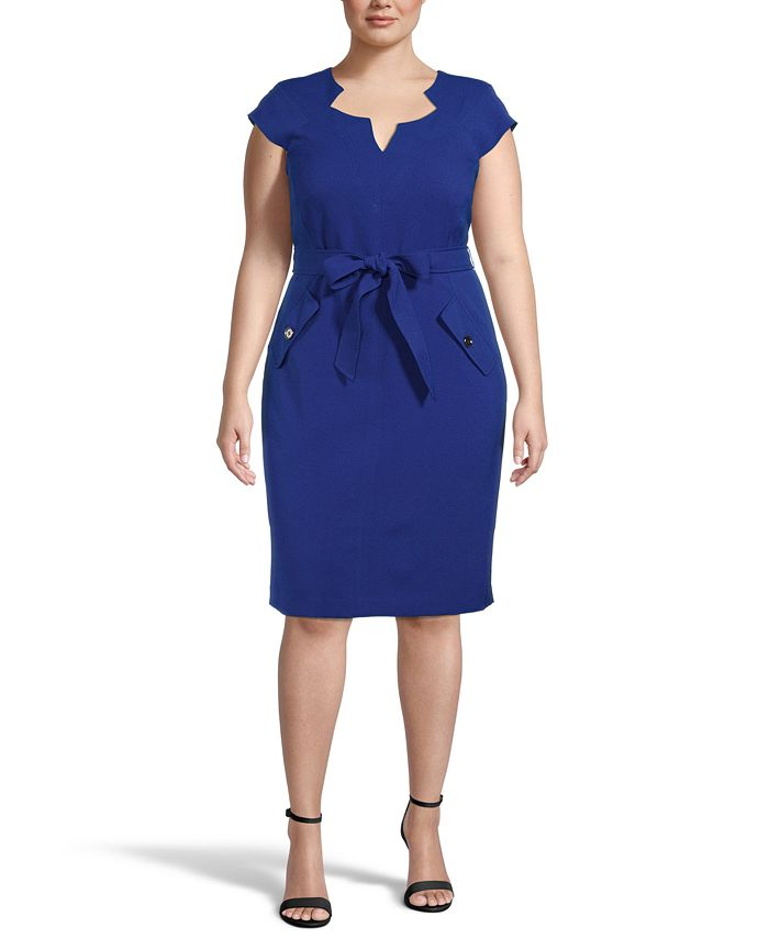 Kasper - Plus Size Belted Notch-Neck Sheath Dress