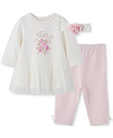 Little  Me Baby Girl Bouquet Dress and Legging with Headband