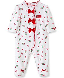 Little  Me Baby Girl Candy Cane Footie