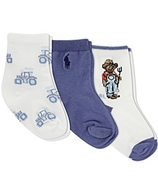 Ralph Lauren Infant Boys Farmer Bear Crew Socks 3-Pair