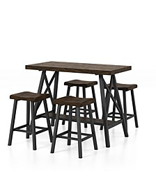 Harvestia Weathered 5-Piece Counter Height Dining Set