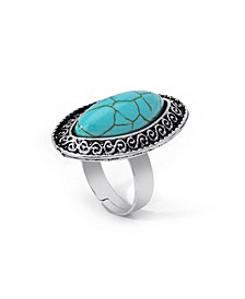 Simulated Turquoise in Fine Silver Plated Marquise Adjustable Ring
