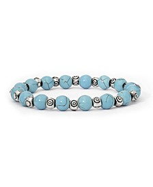 Simulated Turquoise in Fine Silver Plated Swirl Design Beaded Stretch Bracelet