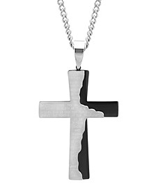 Men's The Lord's Prayer Tablet Cross Pendant Necklace in Two-Tone Stainless Steel