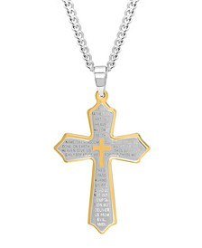 Men's The Lord's Prayer Cross Pendant Necklace in Two-Tone Stainless Steel