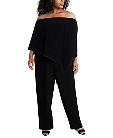 Plus Size Off-The-Shoulder Overlay Jumpsuit