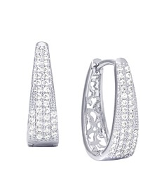 Cubic Zirconia Pave Oval Hoop Earrings