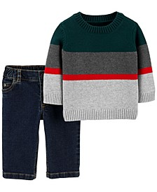 Baby Boy 2-Piece Striped Sweater & Jeans Set