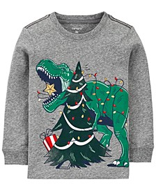 Toddler Boy Christmas Dinosaur Snow Yarn Jersey Tee