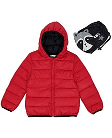 Little Boys Solid Hooded Full Zip Packable Jacket with Raccoon Matching Bag