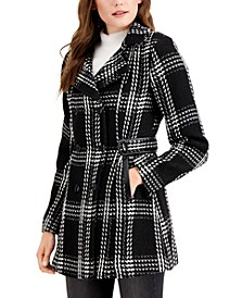 Juniors' Double Breasted Chunky Plaid Coat