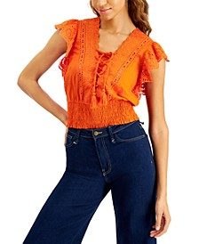 INC Cotton Eyelet-Embroidered Smocked Top, Created for Macy's