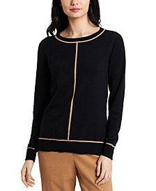 Cleo Contrast-Piped Sweater, Created For Macy's