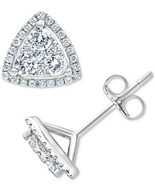 Diamond Triangle Cluster Stud Earrings (3/4 ct. t.w.) in 14k White Gold
