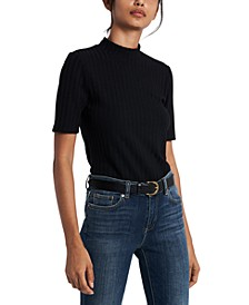 Stanford Ribbed Mock-Neck Top, Created for Macy's