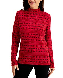 Plus Size Holiday-Print Mock-Neck Top, Created for Macy's