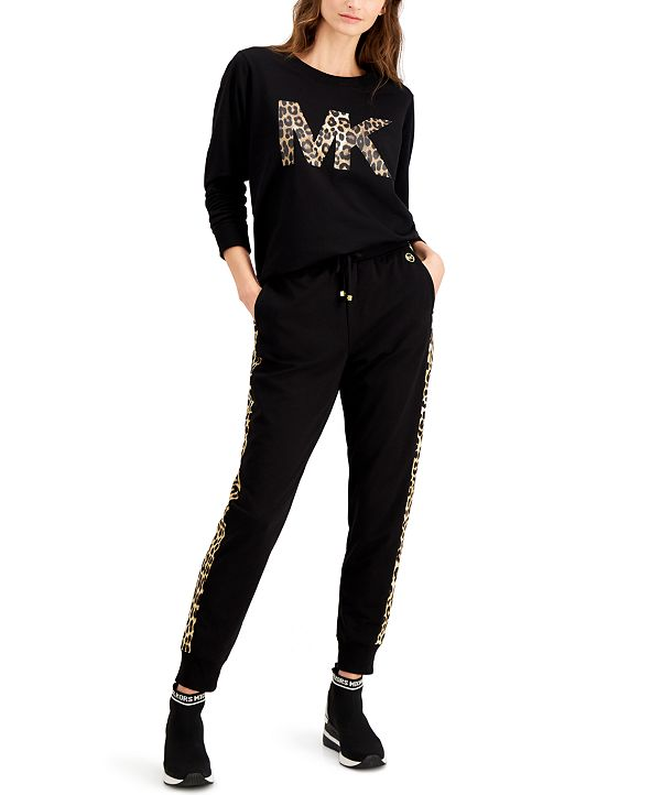 Michael Kors Tapered Cheetah-Stripe Sweatpants