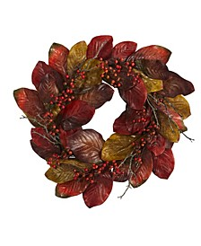 Harvest Magnolia Leaf and Berries Artificial Wreath