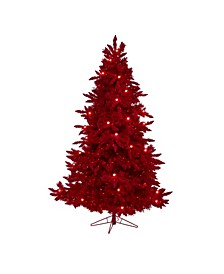 Flocked Fraser Fir Artificial Christmas Tree with 500 Lights, 40 Globe Bulbs and 1039 Bendable Branches