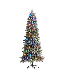 Flocked British Columbia Mountain Fir Artificial Christmas Tree in Decorative Planter with 75 Multi Color Globe Bulbs and 679 Bendable Branches