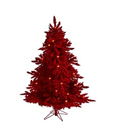Flocked Fraser Fir Artificial Christmas Tree with 250 Lights, 26 Globe Bulbs and 490 Bendable Branches