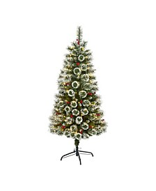 Frosted Swiss Pine Artificial Christmas Tree with 200 Clear LED Lights and Berries